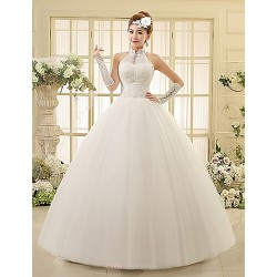 Ball Gown Wedding Dress Floor Length High Neck Lace Tulle