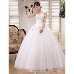 Ball Gown Wedding Dress White Floor Length One Shoulder Lace Satin Tulle