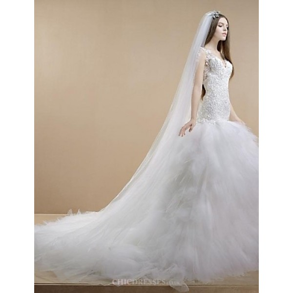 Trumpet/Mermaid Wedding Dress - White Cathedral Train V-neck Lace/Tulle Wedding Dresses