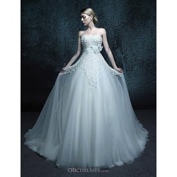 A Line Chapel Train Wedding Dress Strapless Tulle