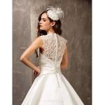 A-line/Princess Plus Sizes Wedding Dress - Ivory Sweep/Brush Train Queen Anne Satin/Lace Wedding Dresses