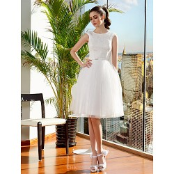 Ball Gown Wedding Dress Ivory Knee Length Jewel Lace Tulle