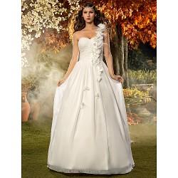 A Line Princess Plus Sizes Wedding Dress Ivory Floor Length One Shoulder Chiffon