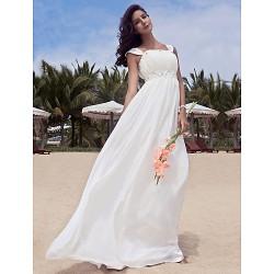 Sheath Column Plus Sizes Wedding Dress Ivory Floor Length Scoop Chiffon
