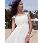 Sheath/Column Plus Sizes Wedding Dress - Ivory Floor-length Scoop Chiffon Wedding Dresses