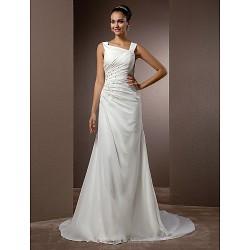 Sheath/Column Plus Sizes Wedding Dress - Ivory Court Train Straps Chiffon