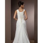 Sheath/Column Plus Sizes Wedding Dress - Ivory Court Train Straps Chiffon Wedding Dresses
