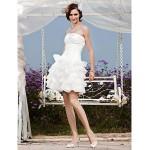 A-line/Princess Plus Sizes Wedding Dress - Ivory Short/Mini Strapless Organza/Taffeta Wedding Dresses