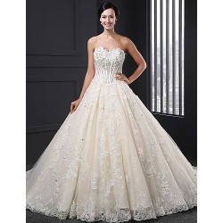 A Line Wedding Dress Champagne Court Train Sweetheart Lace