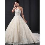 A-line Wedding Dress - Champagne Court Train Sweetheart Lace Wedding Dresses