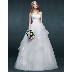 A-line Wedding Dress - White Floor-length V-neck Tulle