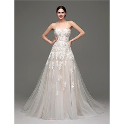 A-line Wedding Dress - Champagne Court Train Sweetheart Tulle