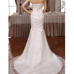Trumpet/Mermaid Court Train Wedding Dress -Strapless Lace Wedding Dresses