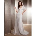 Trumpet/Mermaid Plus Sizes Wedding Dress - Ivory Sweep/Brush Train V-neck Lace Wedding Dresses