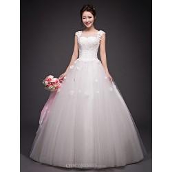 Ball Gown Wedding Dress Ivory Floor Length Jewel Organza