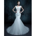 Trumpet/Mermaid Court Train Wedding Dress - V-neck Tulle Wedding Dresses