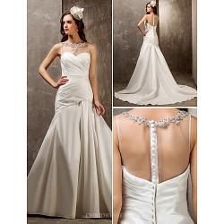 Fit & Flare Plus Sizes Wedding Dress - Ivory Sweep/Brush Train Sweetheart Tulle/Nylon Taffeta