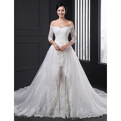 Ball Gown Wedding Dress White Chapel Train Strapless Tulle