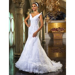Trumpet/Mermaid Plus Sizes Wedding Dress - White Court Train Off-the-shoulder Organza