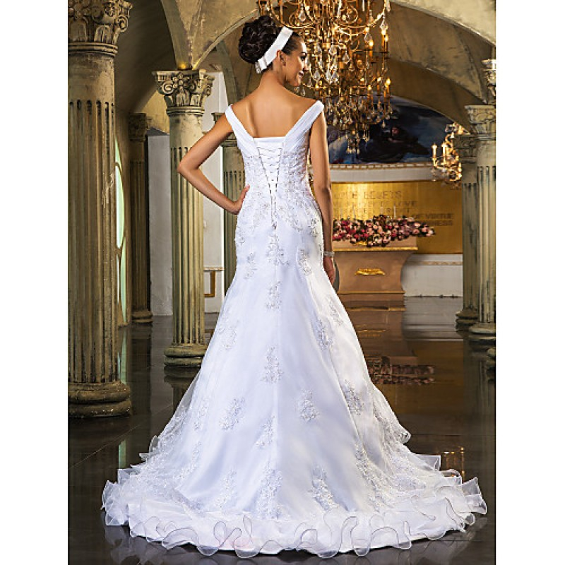Trumpet mermaid plus sizes wedding dress white court for Off white plus size wedding dresses