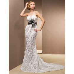 Trumpet Mermaid Plus Sizes Wedding Dress Ivory Court Train Sweetheart Lace Satin Tulle