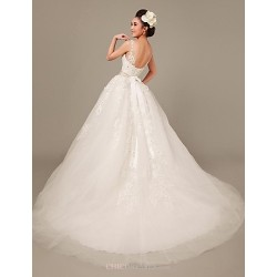 Princess Sweep Brush Train Wedding Dress Straps Lace