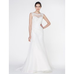 Trumpet Mermaid Wedding Dress Ivory Court Train Scoop Organza