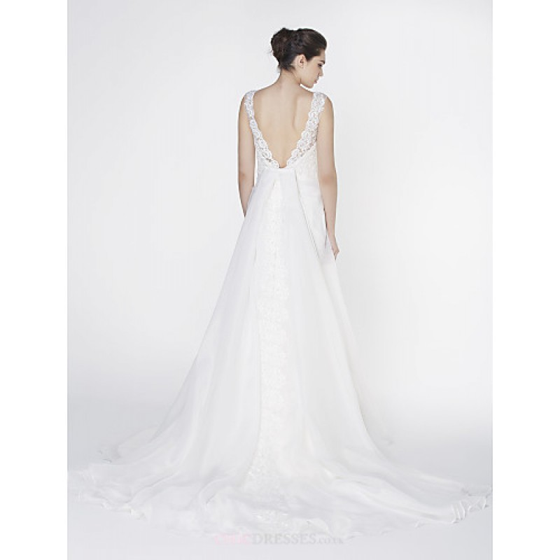 Trumpet mermaid wedding dress ivory court train scoop for Ivory trumpet wedding dress