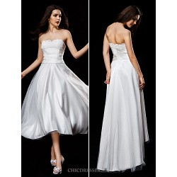 A Line Wedding Dress Ivory Asymmetrical Strapless Satin Tulle