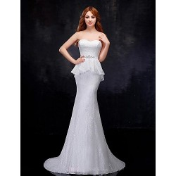 Trumpet/Mermaid Wedding Dress - White Sweep/Brush Train Sweetheart Organza