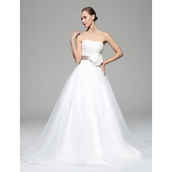 A Line Wedding Dress Chocolate White Chapel Train Sweetheart Organza