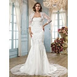 Trumpet Mermaid Plus Sizes Wedding Dress White Court Train Scalloped Edge Tulle