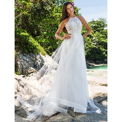 A Line Princess Plus Sizes Wedding Dress Ivory Chapel Train High Neck Organza Lace