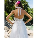 A-line/Princess Plus Sizes Wedding Dress - Ivory Chapel Train High Neck Organza/Lace Wedding Dresses