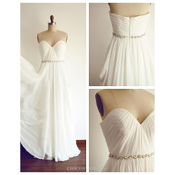 A Line Wedding Dress Ivory Floor Length Sweetheart Chiffon