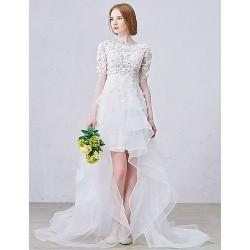 A Line Asymmetrical Wedding Dress Jewel Lace