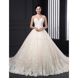 A-line Wedding Dress - Champagne Court Train Straps Lace