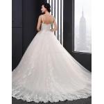 A-line Wedding Dress - Champagne Court Train Straps Lace Wedding Dresses
