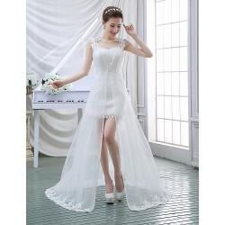 A Line Wedding Dress White Sweep Brush Train Sweetheart Lace