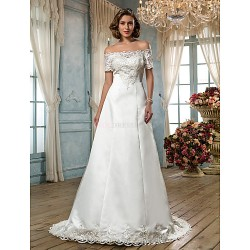 A Line Plus Sizes Wedding Dress Ivory Sweep Brush Train Off The Shoulder Satin