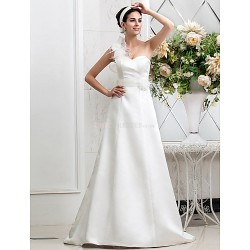A-line Plus Sizes Wedding Dress - Ivory Sweep/Brush Train One Shoulder Satin