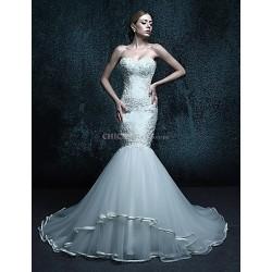 Trumpet Mermaid Chapel Train Wedding Dress Sweetheart Tulle