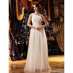 A Line Wedding Dress Ivory Floor Length One Shoulder Tulle