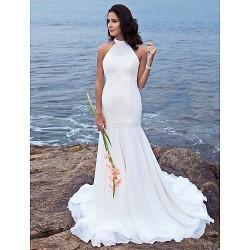 Trumpet Mermaid Plus Sizes Wedding Dress Ivory Sweep Brush Train Halter Chiffon
