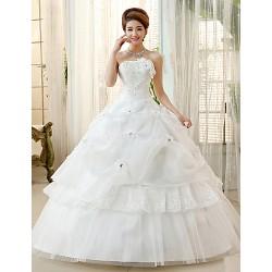 Princess/Ball Gown Wedding Dress - Ivory Floor-length Strapless Organza