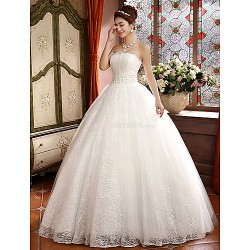 Ball Gown Floor-length Wedding Dress -Strapless Lace
