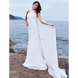 Sheath Column Plus Sizes Wedding Dress White Sweep Brush Train Halter Chiffon