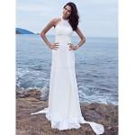 Sheath/Column Plus Sizes Wedding Dress - White Sweep/Brush Train Halter Chiffon Wedding Dresses
