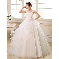 Ball Gown Floor-length Wedding Dress -Straps Tulle