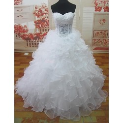 A Line Court Train Wedding Dress Sweetheart Lace